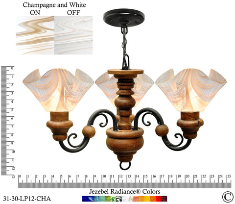 Jezebel Radiance® Floral Vineyard Chandelier. Glass: Champagne and White - PeazzLighting