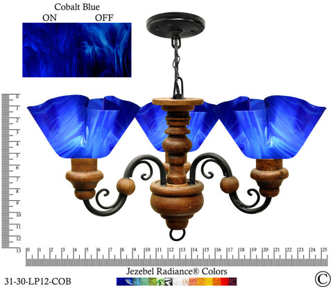 Jezebel Radiance® Floral Vineyard Chandelier. Glass: Cobalt Blue - PeazzLighting
