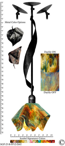 Jezebel Signature® Sweetgrass Pendant. Hardware: Black. Glass: Daylily, Flame Style - PeazzLighting