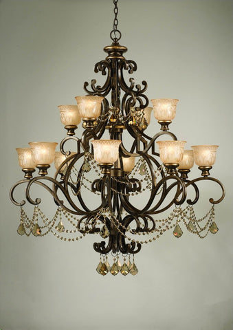 Crystorama Golden Teak Strass Crystal Draped on a Wrought Iron Chandelier Handpainted with a Amber Glass Pattern 12 Lights - Bronze Umber - 7512-BU-GTS - PeazzLighting