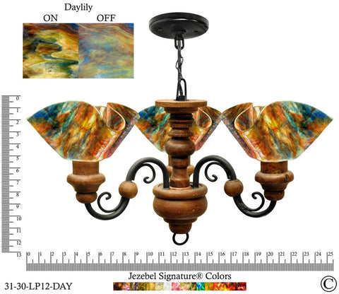 Jezebel Signature® Floral Vineyard Chandelier. Glass: Daylily - PeazzLighting