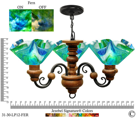 Jezebel Signature® Floral Vineyard Chandelier. Glass: Fern - PeazzLighting