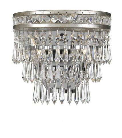 Crystorama 5261-OS-CL-MWP Mercer 2 Light Hand Cut Crystal Silver Sconce - PeazzLighting