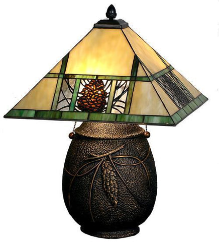 "Meyda Tiffany 67850 19.5""H Pinecone Ridge Table Lamp - PeazzLighting"