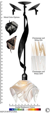 Jezebel Radiance® Sweetgrass Pendant. Hardware: Black. Glass: Champagne and White, Flame Style - PeazzLighting