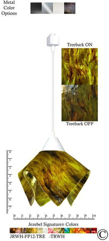 Jezebel Signature® Flame Track Lighting Pendant Small. Hardware: White. Glass: Treebark - PeazzLighting