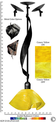 Jezebel Radiance® Sweetgrass Pendant. Hardware: Black. Glass: Canary Yellow, Lily Style - PeazzLighting