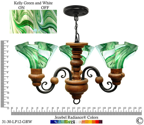 Jezebel Radiance® Floral Vineyard Chandelier. Glass: Kelly Green and White - PeazzLighting