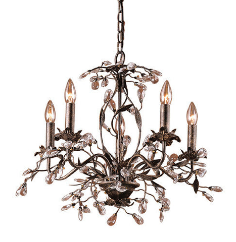 ELK Lighting Lighting 8053-5 Five Light Chandelier In Deep Rust And Crystal Droplets - PeazzLighting