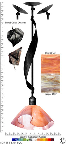 Jezebel Radiance® Sweetgrass Pendant. Hardware: Black. Glass: Bisque, Lily Style - PeazzLighting
