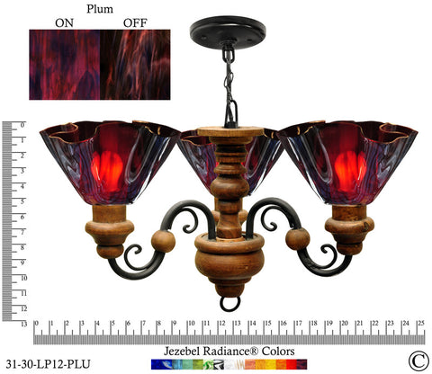 Jezebel Radiance® Floral Vineyard Chandelier. Glass: Plum - PeazzLighting