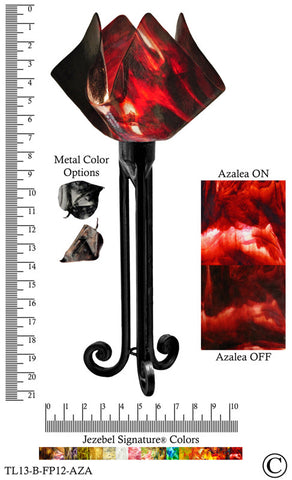 Jezebel Signature® Torch Light. Hardware: Black. Glass: Azalea, Flame Style - PeazzLighting