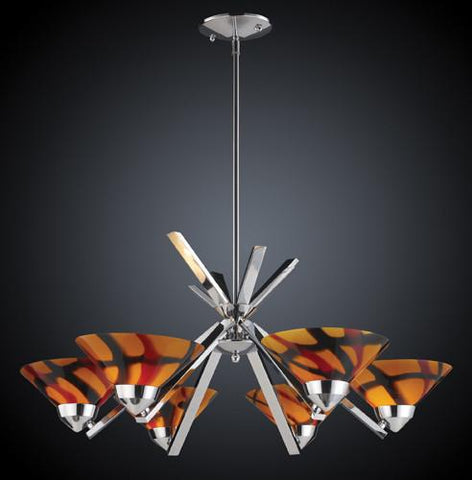 ELK Lighting Lighting 1475-6Jas Six Light Chandelier In Polished Chrome And Jasper Glass - Peazz.com