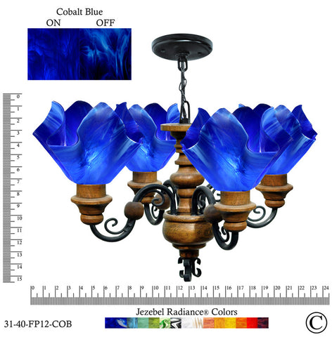 Jezebel Radiance® Flame Vineyard Chandelier. Glass: Cobalt Blue - PeazzLighting