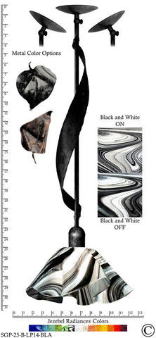 Jezebel Radiance® Sweetgrass Pendant. Hardware: Black. Glass: Black and White, Lily Style - PeazzLighting