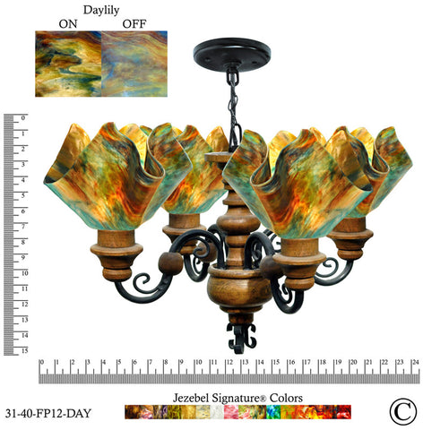 Jezebel Signature® Flame Vineyard Chandelier. Glass: Daylily - PeazzLighting