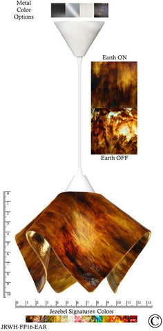 Jezebel Signature® Flame Pendant Large. Hardware: White. Glass: Earth - PeazzLighting