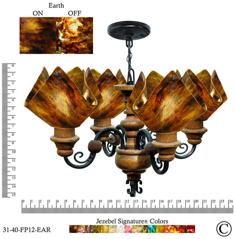 Jezebel Signature® Flame Vineyard Chandelier. Glass: Earth - PeazzLighting