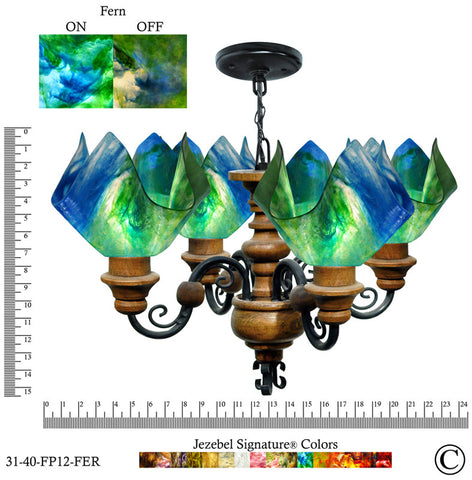 Jezebel Signature® Flame Vineyard Chandelier. Glass: Fern - PeazzLighting