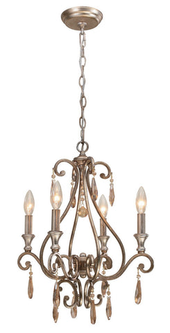 Crystorama Mini chandelier with the transitional finish, Distressed Twilight, and Golden Shadow hand cut crystals. 4 Lights - Distressed Twilight - 7524-DT - PeazzLighting