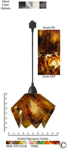 Jezebel Signature® Flame Track Lighting Pendant Small. Hardware: Black. Glass: Earth - PeazzLighting