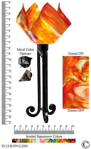 Jezebel Signature® Torch Light. Hardware: Black. Glass: Zinnia, Flame Style - PeazzLighting