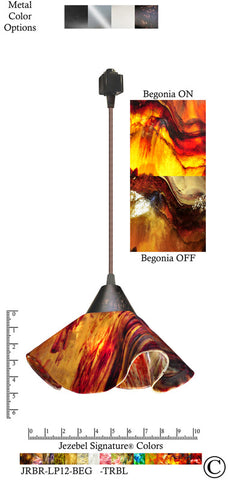 Jezebel Signature® Lily Track Lighting Pendant Small. Hardware: Brown. Glass: Begonia - PeazzLighting