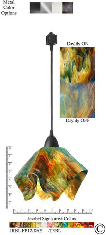 Jezebel Signature® Flame Track Lighting Pendant Small. Hardware: Black. Glass: Daylily - PeazzLighting