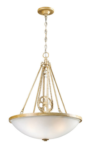 Landmark 66275-3 Cog and Chain Bleached Wood Pendant - PeazzLighting