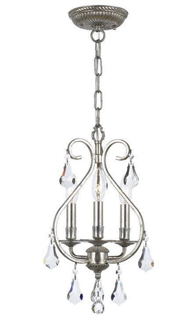 Crystorama 5013-OS-CL-MWP Ashton 3 Light Hand Cut Crystal Silver Mini Chandelier - PeazzLighting
