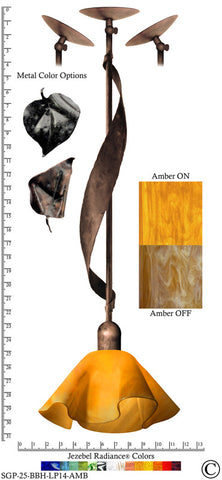 Jezebel Radiance® Sweetgrass Pendant. Hardware: Brown with Brown Highlights. Glass: Amber, Lily Style - PeazzLighting