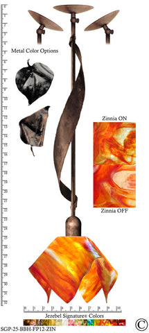 Jezebel Signature® Sweetgrass Pendant. Hardware: Brown with Brown Highlights. Glass: Zinnia, Flame Style - PeazzLighting