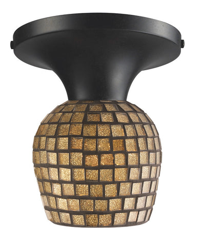 ELK Lighting Celina Celina 1-Light Semi-Flush In Dark Rust And Gold Leaf Glass - 10152/1DR-GLD - PeazzLighting