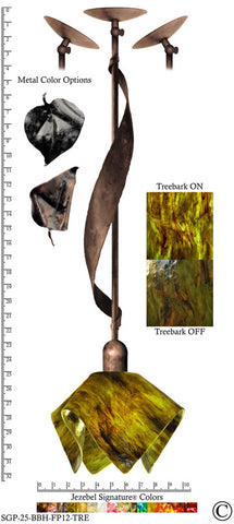 Jezebel Signature® Sweetgrass Pendant. Hardware: Brown with Brown Highlights. Glass: Treebark, Flame Style - PeazzLighting
