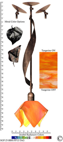 Jezebel Radiance® Sweetgrass Pendant. Hardware: Brown with Brown Highlights. Glass: Tangerine, Flame Style - PeazzLighting