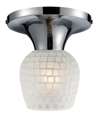 ELK Lighting Celina Celina 1-Light Semi-Flush In Polished Chrome And White Glass - 10152/1PC-WHT - PeazzLighting