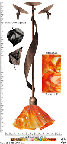Jezebel Signature® Sweetgrass Pendant. Hardware: Brown with Brown Highlights. Glass: Zinnia, Lily Style - PeazzLighting