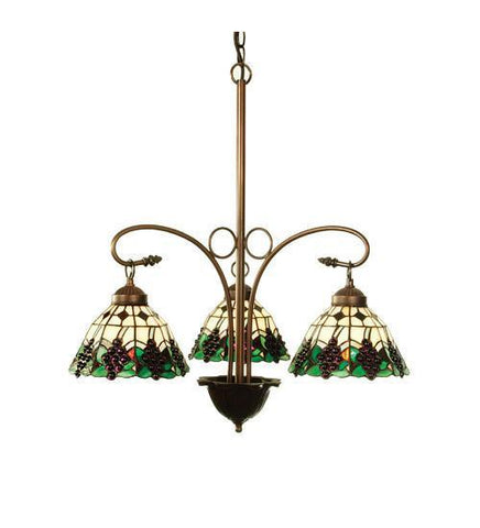 "Meyda Tiffany 103183 24""W Meyda Grape 3 Lt Chandelier - PeazzLighting"