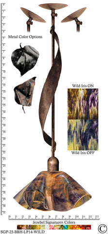 Jezebel Signature® Sweetgrass Pendant. Hardware: Brown with Brown Highlights. Glass: Wild Iris, Lily Style - PeazzLighting