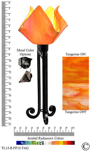 Jezebel Radiance® Torch Light. Hardware: Black. Glass: Tangerine, Flame Style - PeazzLighting