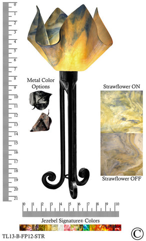 Jezebel Signature® Torch Light. Hardware: Black. Glass: Strawflower, Flame Style - PeazzLighting