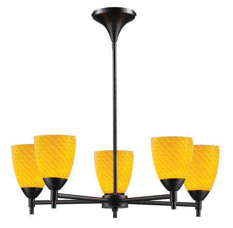 ELK Lighting Celina Celina 5-Light Chandelier In Dark Rust And Canary Glass - 10155/5DR-CN - PeazzLighting