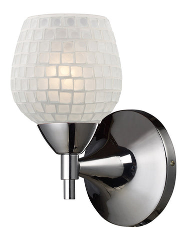 ELK Lighting Celina Celina 1-Light Sconce In Polished Chrome And White Glass - 10150/1PC-WHT - PeazzLighting