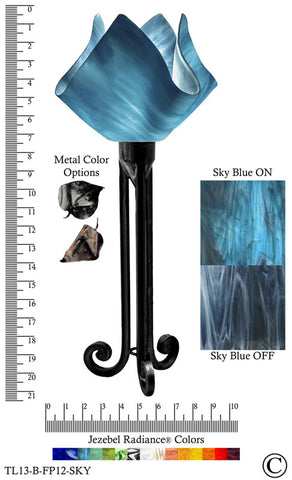 Jezebel Radiance® Torch Light. Hardware: Black. Glass: Sky Blue, Flame Style - PeazzLighting