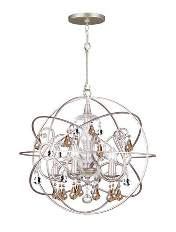 Crystorama 9026-EB-GS-MWP Solaris 5 Light Gold Crystal Bronze Sphere Chandelier - PeazzLighting