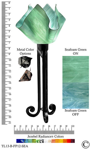 Jezebel Radiance® Torch Light. Hardware: Black. Glass: Seafoam Green, Flame Style - PeazzLighting