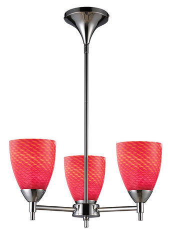 ELK Lighting Celina Celina 3-Light Chandelier In Polished Chrome And Scarlet Red Glass - 10154/3PC-SC - PeazzLighting