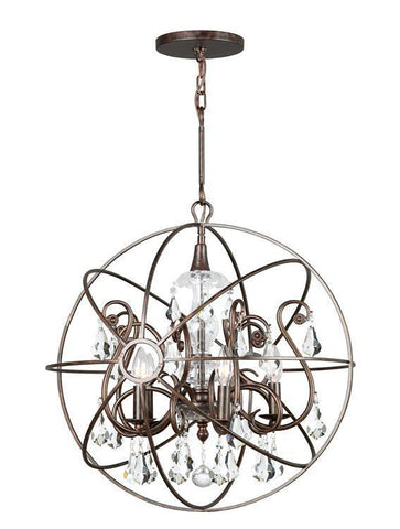 Crystorama 9026-EB-CL-MWP Solaris 5 Light Crystal Bronze Sphere Chandelier - PeazzLighting