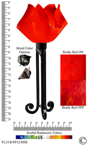 Jezebel Radiance® Torch Light. Hardware: Black. Glass: Really Red, Flame Style - PeazzLighting