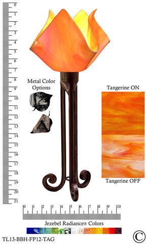 Jezebel Radiance® Torch Light. Hardware: Brown with Brown Highlights. Glass: Tangerine, Flame Style - PeazzLighting
